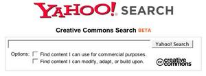 Yahoo Creative Commons Search home page screenshot